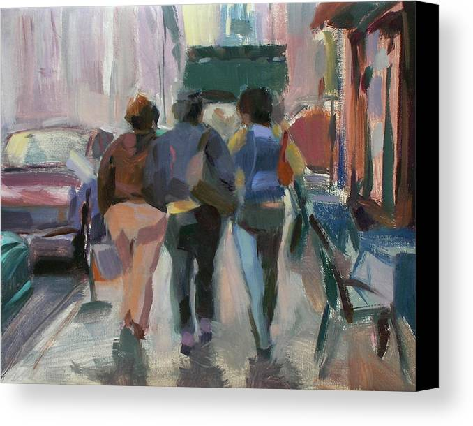 Figurative Canvas Print featuring the painting Walking In Chelsea by Merle Keller