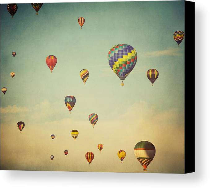 Hot Air Balloons Canvas Print featuring the photograph We Are Floating In Space by Irene Suchocki