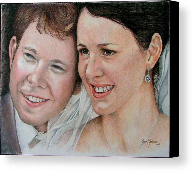 Portraits Canvas Print featuring the painting Wedding Portrait by Joan Garcia