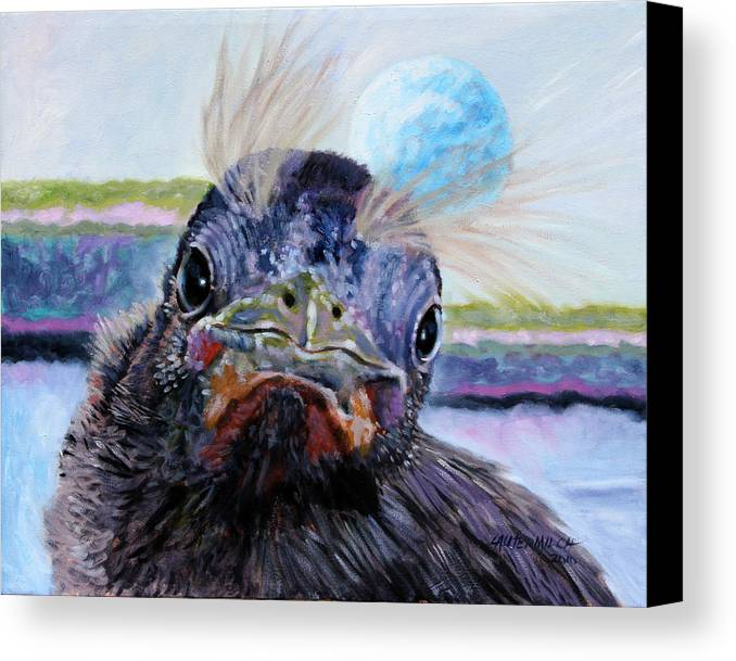 Baby Bird Canvas Print featuring the painting Welcome To The World by John Lautermilch