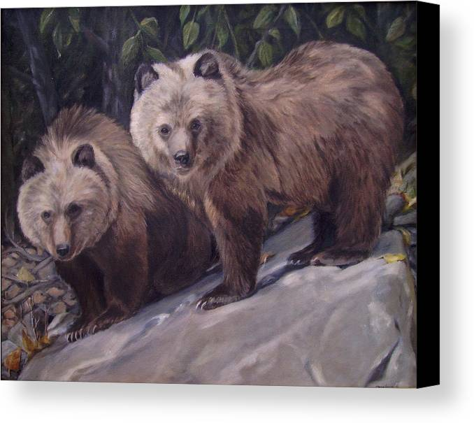 Grizzly Cubs Canvas Print featuring the painting Where S Momma by Tahirih Goffic