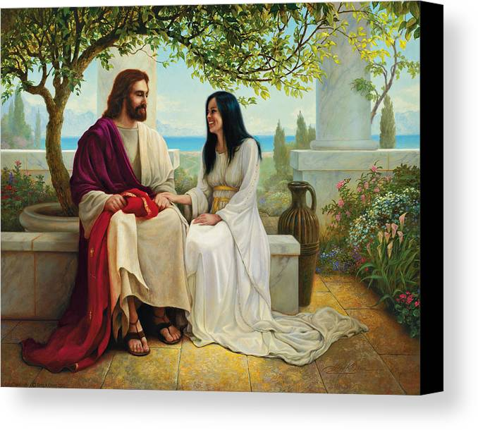 Jesus Canvas Print featuring the painting White As Snow by Greg Olsen
