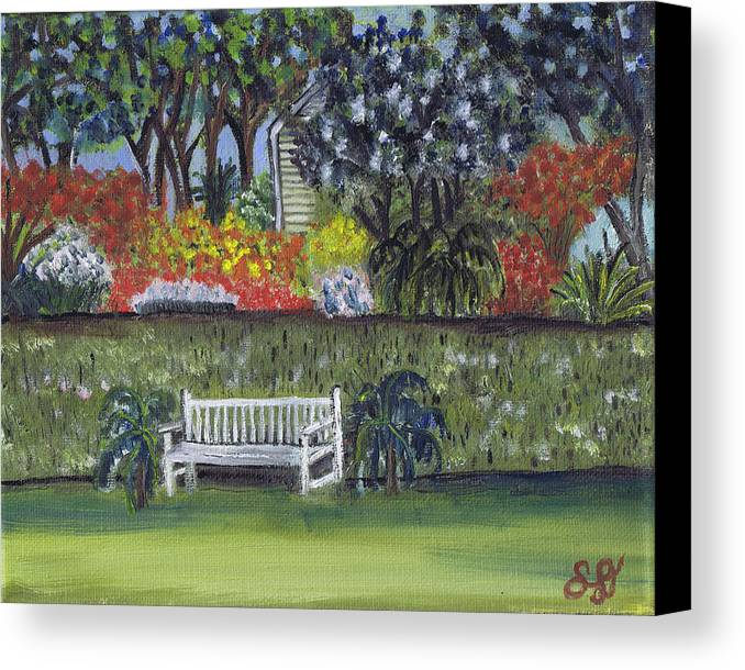 White Bench Canvas Print featuring the painting White Bench In Colorful Garden by Samara Doumnande