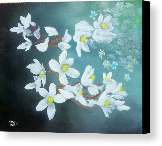 Flowers Canvas Print featuring the painting White Flowers by Tony Rodriguez