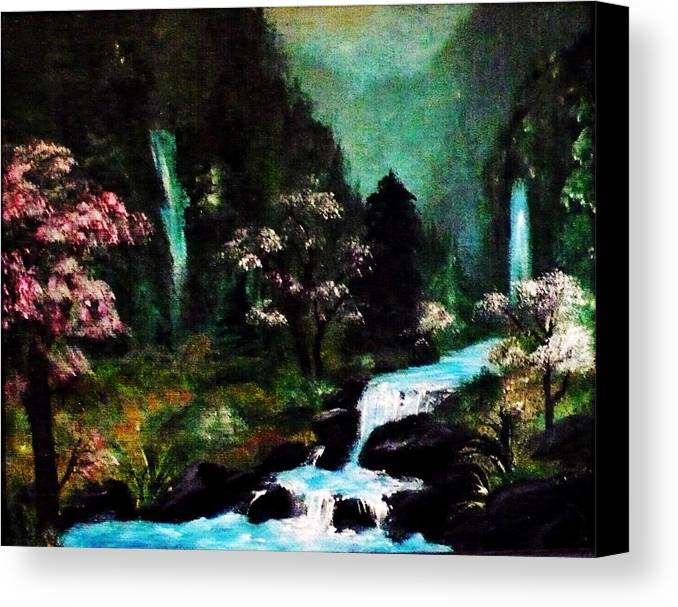 Waterfall Canvas Print featuring the painting Wispering Waters by Tina Haeger