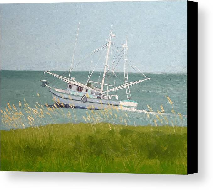 Shrimp Boat Canvas Print featuring the painting Working In Close by Robert Rohrich