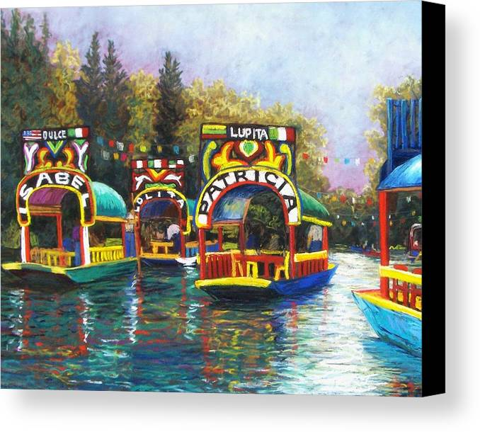 Landscape Canvas Print featuring the pastel Xochimilco by Candy Mayer