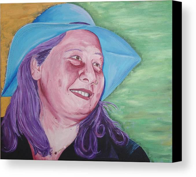 Portrait Canvas Print featuring the painting Yellow Blue Green Christine by Kevin Callahan