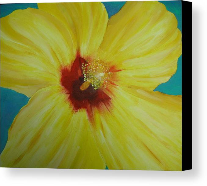 Flower Canvas Print featuring the print Yellow Hibiscus by Melinda Etzold