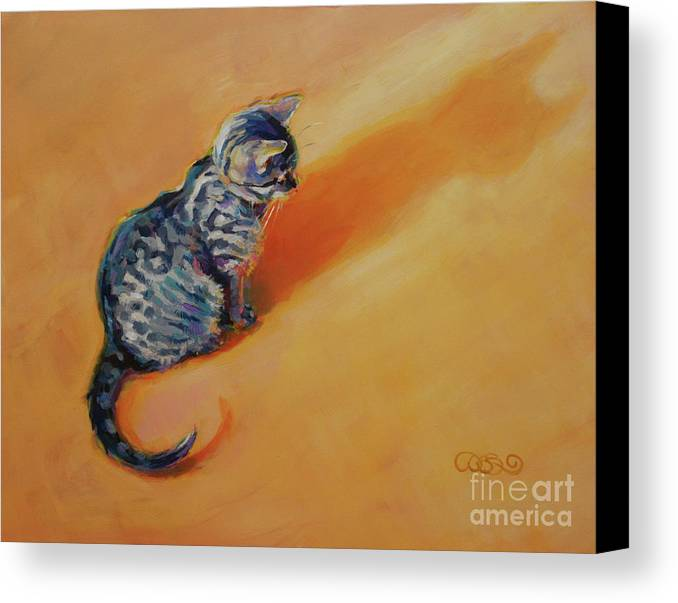 Tabby Kitten Canvas Print featuring the painting You Are My Sunshine by Kimberly Santini