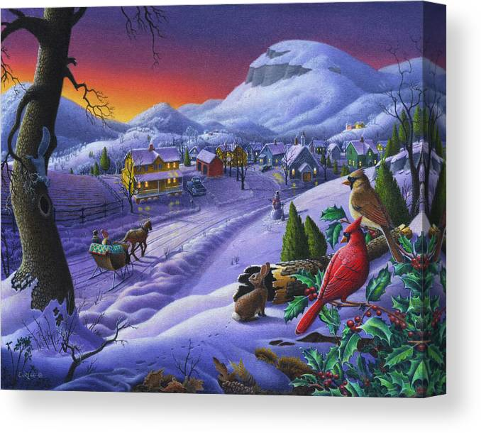 Christmas Canvas Print featuring the painting Christmas Sleigh Ride Winter Landscape Oil Painting - Cardinals Country Farm - Small Town Folk Art by Walt Curlee