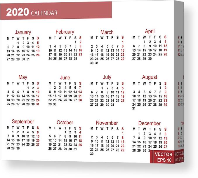 Calendar Year 2020.Calendar For The New Year 2020 Grid Date For Your Design Canvas Print