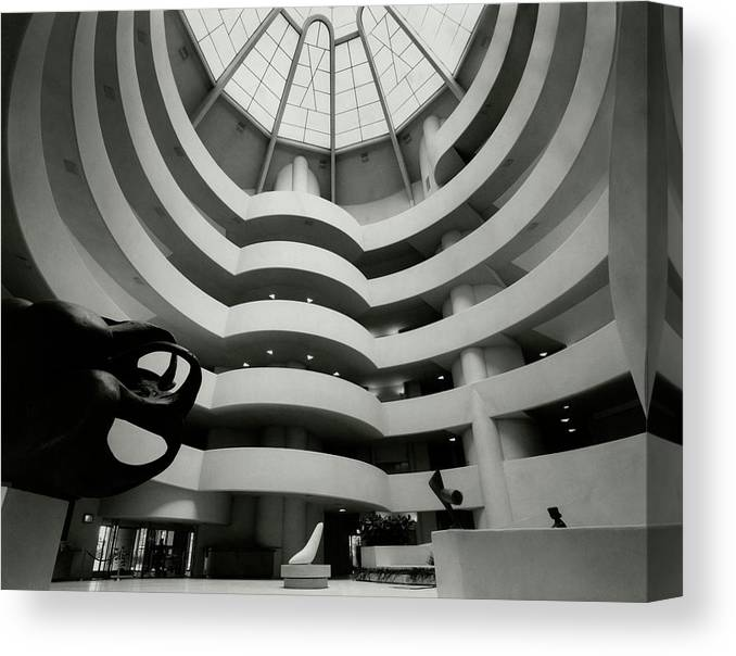 Frank Lloyd Wright Canvas Print featuring the photograph The Guggenheim Museum In New York City by Eveyln Hofer