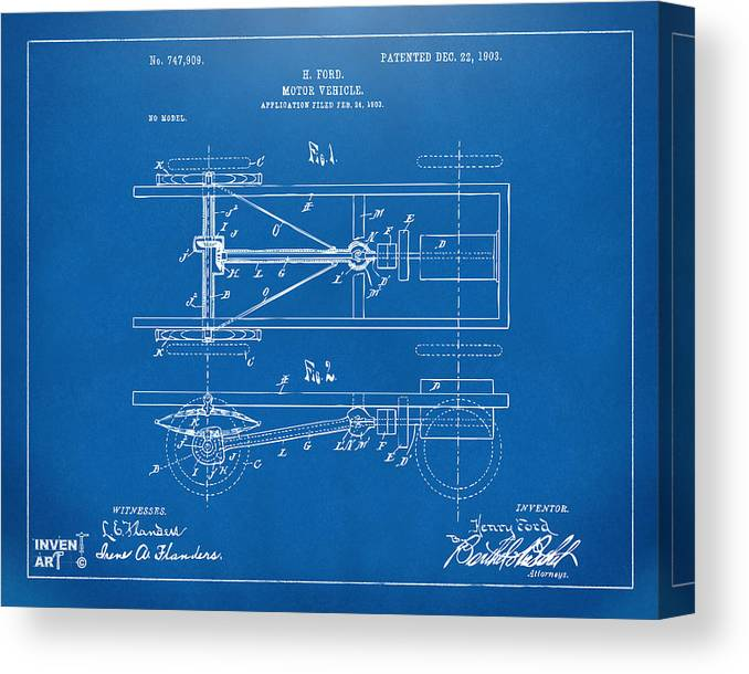 Henry Ford Canvas Print featuring the digital art 1903 Henry Ford Model T Patent Blueprint by Nikki Marie Smith
