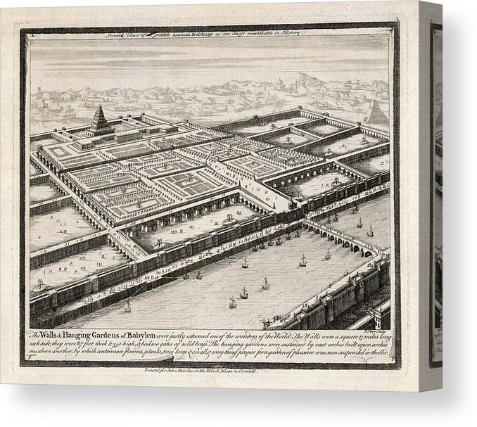 Wonders Canvas Print featuring the drawing Allegedly Built By Nebushadnezzar II by Mary Evans Picture Library