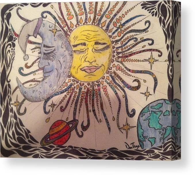Sun Canvas Print featuring the drawing Life In Color by Danielle Troyer
