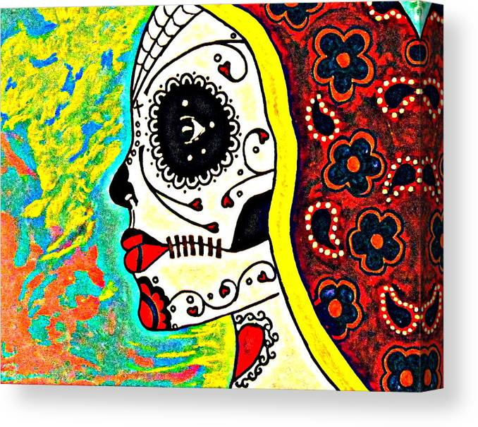 Dia De Los Muertos Canvas Print featuring the digital art Never Going Back by Regina Vasquez