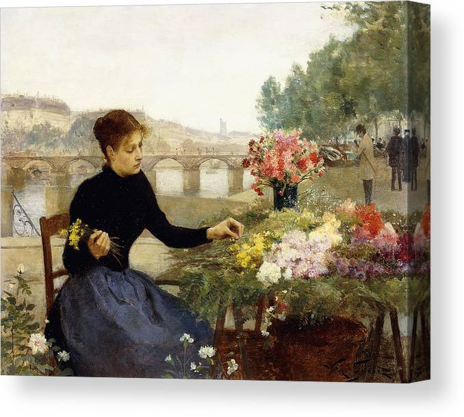 Victor Gabriel Gilbert Canvas Print featuring the painting A Parisian Flower Market by Victor Gabriel Gilbert