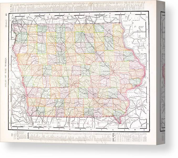 photograph relating to Printable Map of Iowa referred to as Antique Typical Coloration Map Of Iowa, United states of america Canvas Print