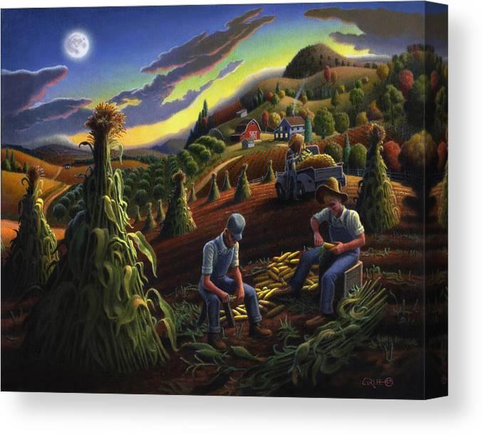 Autumn Canvas Print featuring the painting Autumn Farmers Shucking Corn Appalachian Rural Farm Country Harvesting Landscape - Harvest Folk Art by Walt Curlee