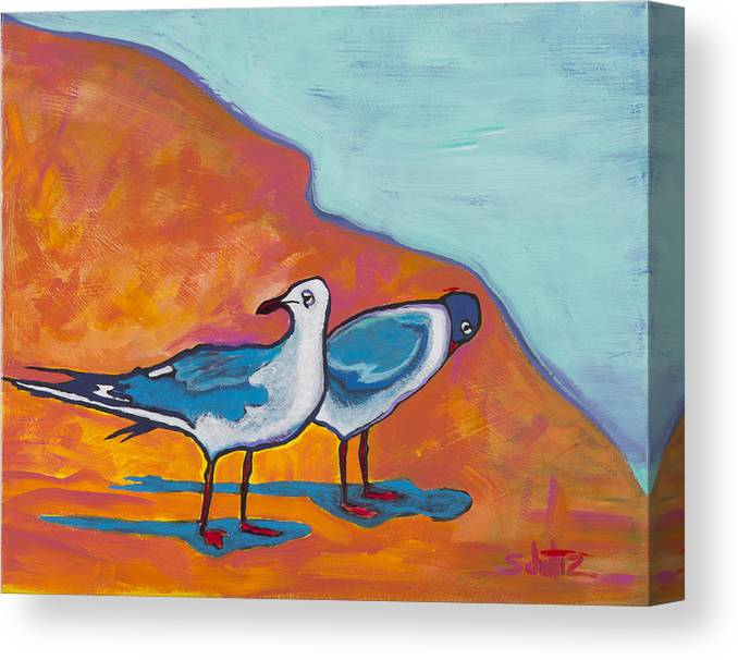 Birds Canvas Print featuring the painting Beach Shadows by John Schultz
