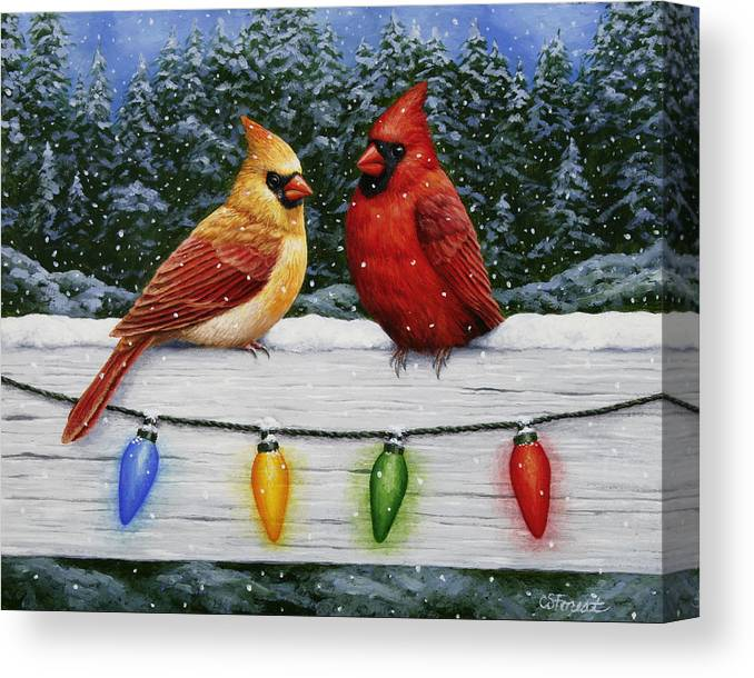 0f30bf1d4 Bird Painting - Christmas Cardinals Canvas Print   Canvas Art by ...
