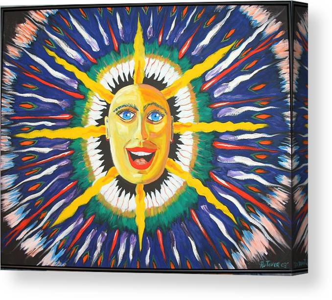 Oil Canvas Print featuring the painting Blue Sun by Ru Tover