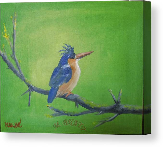 King Fisher Canvas Print featuring the painting Blyth's King Fisher by M Bhatt
