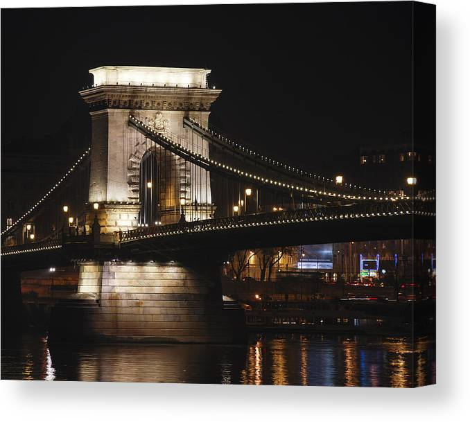 Chain Canvas Print featuring the photograph Chain Bridge Support by David Waldo