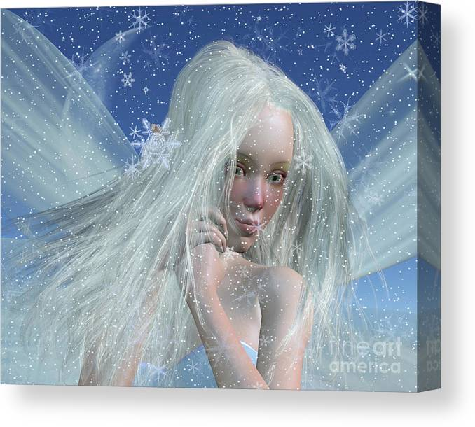 Fairy Canvas Print featuring the digital art Cold Winter Fairy Portrait by Fairy Fantasies