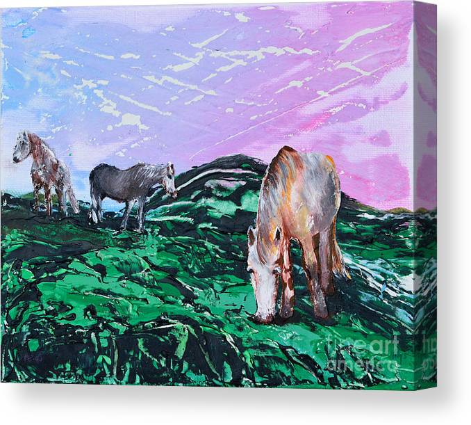 Landscape Canvas Print featuring the painting Connemara Ponies by Alys Caviness-Gober