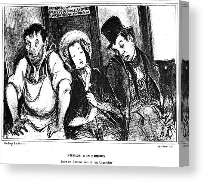 1841 Canvas Print featuring the painting Daumier Omnibus, 1841 by Granger
