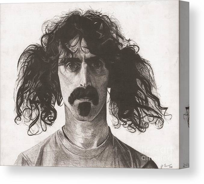 Frank Zappa American Musician Canvas Print featuring the drawing Frank Zappa by Jeff Ridlen