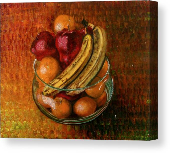 Still Life Canvas Print featuring the painting Glass Bowl Of Fruit by Sean Connolly