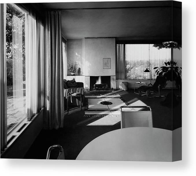 Home Canvas Print featuring the photograph Living Room In Mr. And Mrs. Walter Gropius' House by Robert M. Damora