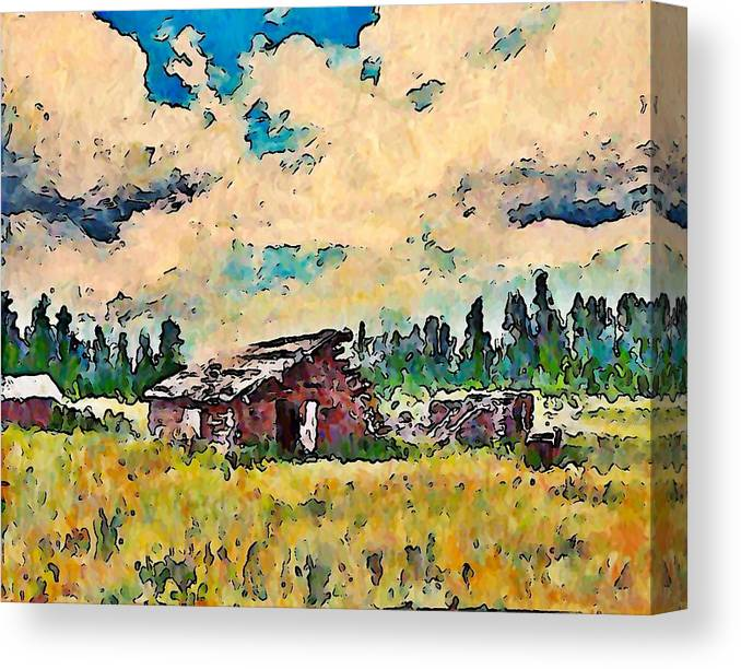 Landscape Canvas Print featuring the painting Log Building Douglas Lake by Stanley Funk