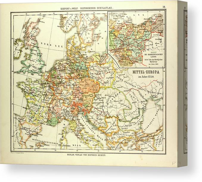 Map Of Central Europe In 1250 Canvas Print