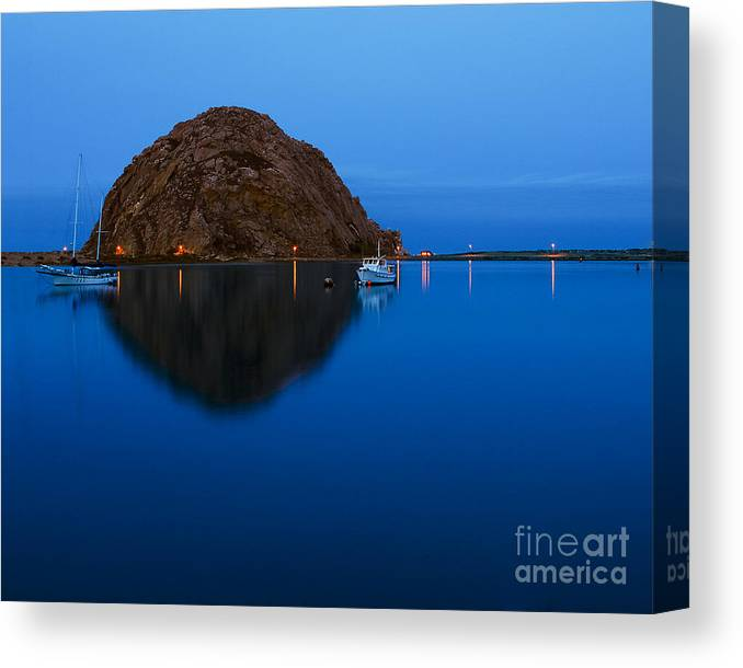 Morro Rock Canvas Print featuring the photograph Morro Bay Calm Morning by Terry Garvin