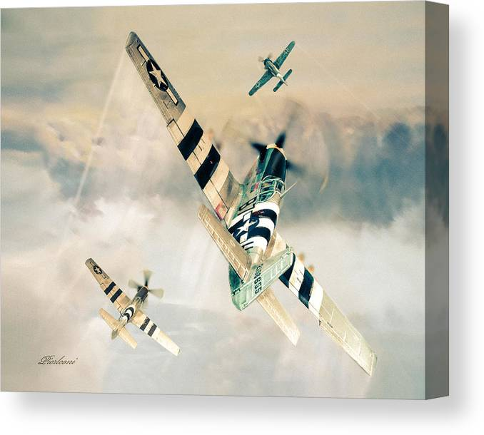 Air Combat Canvas Print featuring the photograph Mustang P-51 by Tony Pierleoni