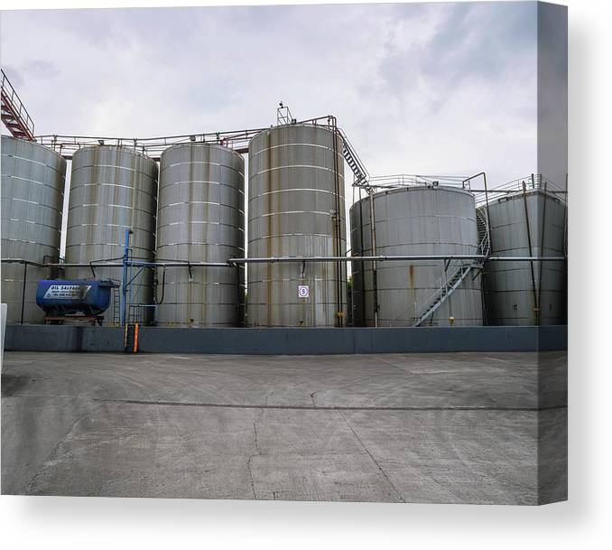 Waste Canvas Print featuring the photograph Oil Recycling Works by Robert Brook