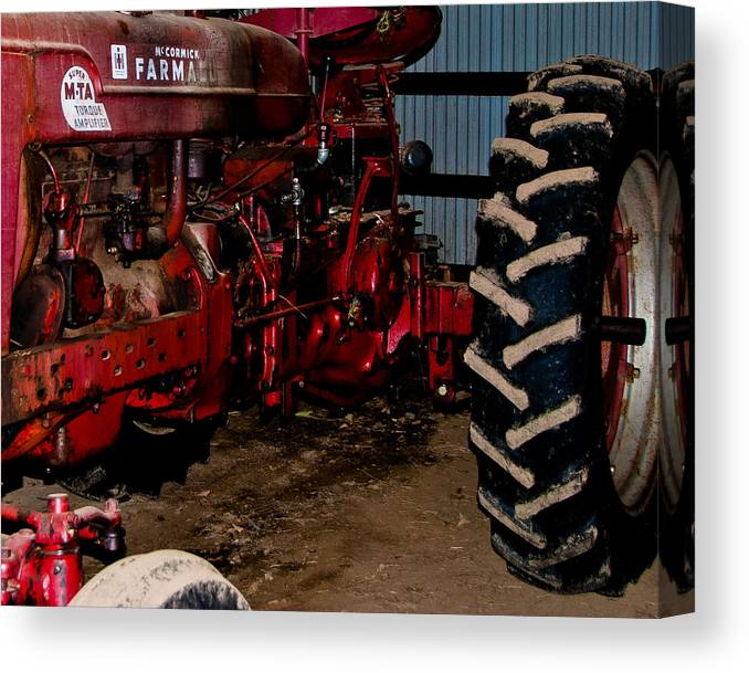 Tractor Canvas Print featuring the photograph Oiled Tractor by Nickaleen Neff