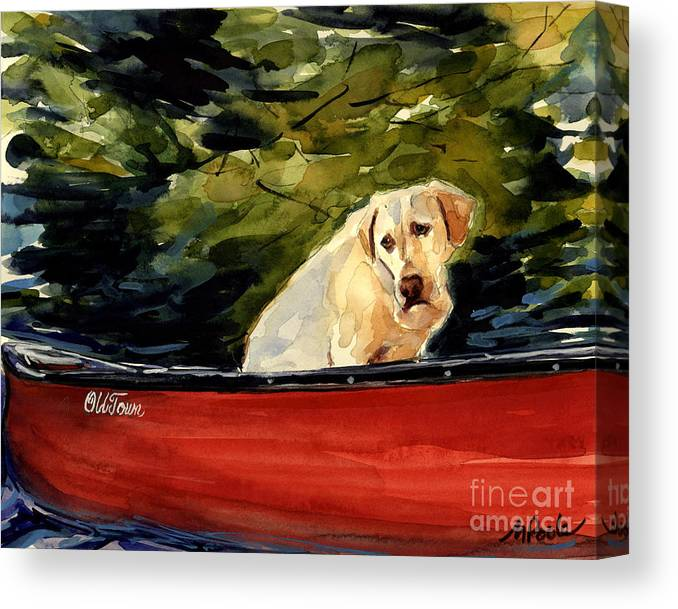 Yellow Labrador Retriever Canvas Print featuring the painting Old Town by Molly Poole
