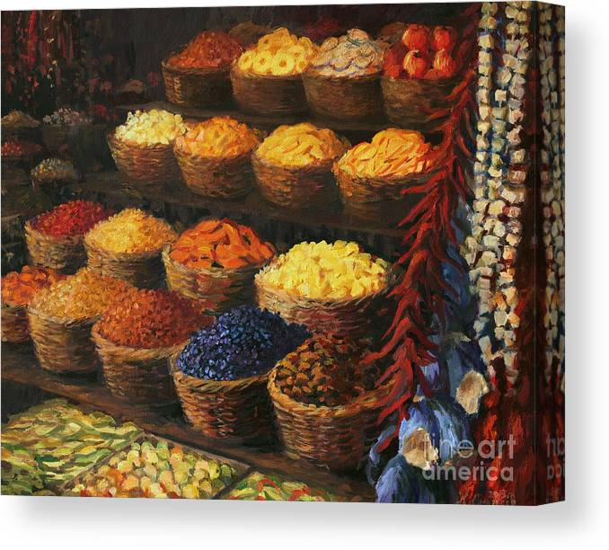 Fruits Canvas Print featuring the painting Palette Of The Orient by Kiril Stanchev