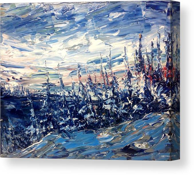 Abstract Landscape Canadian Northern Impressionist Group Of Seven Canvas Print featuring the painting Pines In Winter Blues Abstract by Desmond Raymond