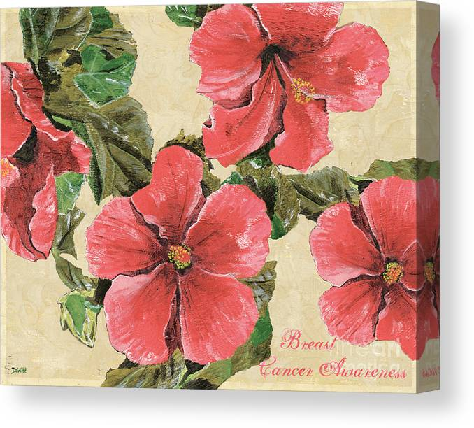 Floral Canvas Print featuring the painting Pink Hibiscus by Debbie DeWitt