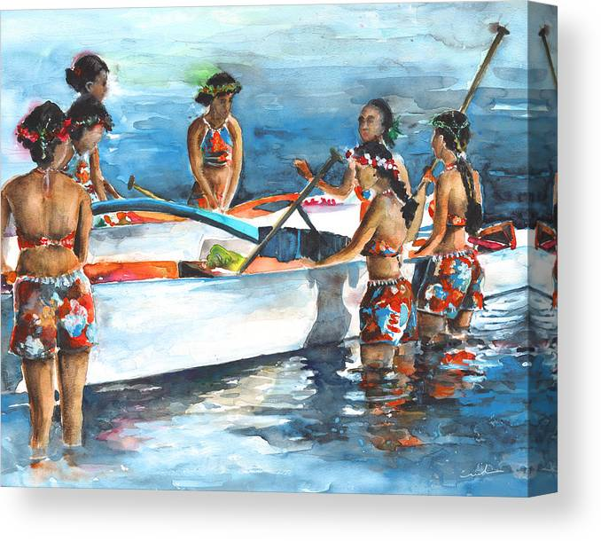 Travel Canvas Print featuring the painting Polynesian Vahines Around Canoe by Miki De Goodaboom