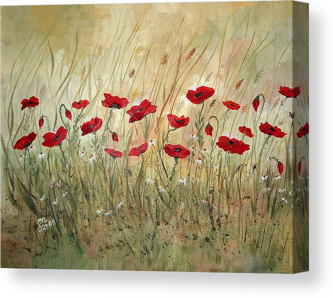 Poppies Canvas Print featuring the painting Poppies And Wild Flowers by Dorothy Maier