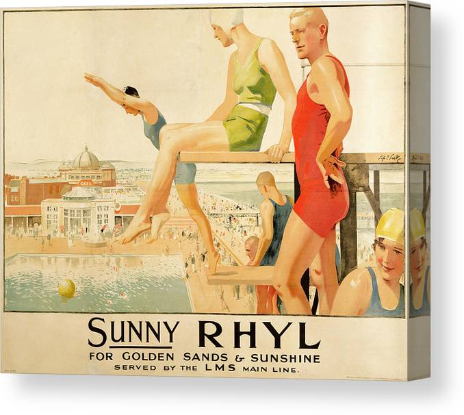 North Wales Canvas Print featuring the painting Poster Advertising Sunny Rhyl by Septimus Edwin Scott
