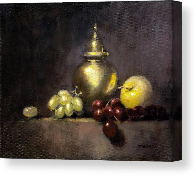 Still Life Canvas Print featuring the painting Pot And Fruit by Roger Lundskow