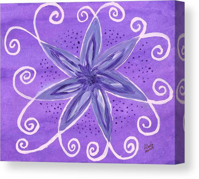 Purple Canvas Print featuring the painting Purple Flower by Atlanta Carrera